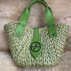 Francesco Biasia straw lime green purse.